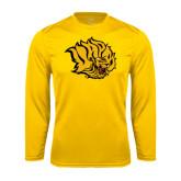 Syntrel Performance Gold Longsleeve Shirt-Golden Lion Head
