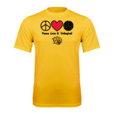 Syntrel Performance Gold Tee-Peace Love & Volleyball