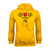 Gold Fleece Hoodie-Soccer Just Kick It