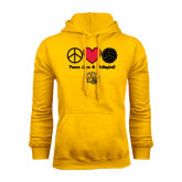 Gold Fleece Hoodie-Peace Love & Volleyball