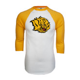 White/Gold Raglan Baseball T-Shirt-Golden Lion Head