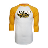 White/Gold Raglan Baseball T-Shirt-UAPB Golden Lions Stacked