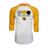 White/Gold Raglan Baseball T-Shirt-Peace Love & Volleyball