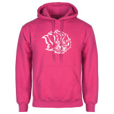 Fuchsia Fleece Hoodie-Golden Lion Head