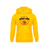 Youth Gold Fleece Hood-Basketball  Arched w/ Ball