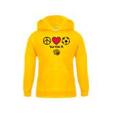 Youth Gold Fleece Hood-Soccer Just Kick It