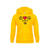 Youth Gold Fleece Hoodie-Soccer Just Kick It