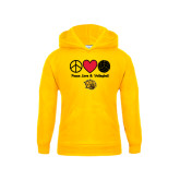 Youth Gold Fleece Hood-Peace Love & Volleyball