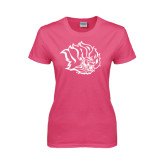 Ladies Fuchsia T Shirt-Golden Lion Head
