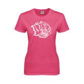 Ladies Fuchsia T Shirt-Golden Lion Head