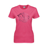 Ladies Fuchsia T Shirt-Golden Lion Head Foil