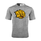 Performance Grey Heather Contender Tee-Golden Lion Head