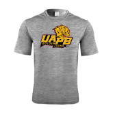 Performance Grey Heather Contender Tee-UAPB Lion Head Stacked