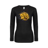 Ladies Black Long Sleeve V Neck T Shirt-Golden Lion Head