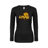 Ladies Black Long Sleeve V Neck T Shirt-UAPB Lion Head Stacked