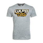Next Level SoftStyle Heather Grey T Shirt-UAPB Golden Lions Stacked