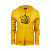 ENZA Ladies Gold Fleece Full Zip Hoodie-Golden Lion Head