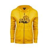 ENZA Ladies Gold Fleece Full Zip Hoodie-UAPB Lion Head Stacked