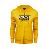 ENZA Ladies Gold Fleece Full Zip Hoodie-UAPB Golden Lions Stacked