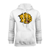 White Fleece Hoodie-Golden Lion Head