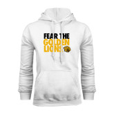 White Fleece Hoodie-Fear The Golden Lions