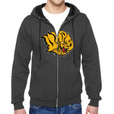 Charcoal Fleece Full Zip Hoodie-Golden Lion Head