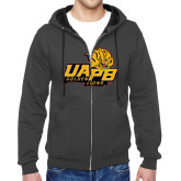 Charcoal Fleece Full Zip Hoodie-UAPB Lion Head Stacked