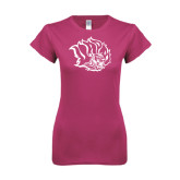 Ladies SoftStyle Junior Fitted Fuchsia Tee-Golden Lion Head