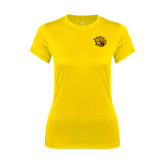 Ladies Syntrel Performance Gold Tee-Golden Lion Head