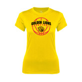 Ladies Syntrel Performance Gold Tee-Basketball  Arched w/ Ball