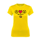 Ladies Syntrel Performance Gold Tee-Soccer Just Kick It