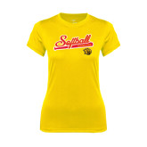 Ladies Syntrel Performance Gold Tee-Softball Script