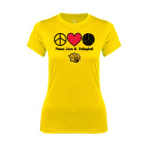 Ladies Syntrel Performance Gold Tee-Peace Love & Volleyball