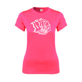 Ladies Performance Hot Pink Tee-Golden Lion Head