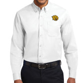 White Twill Button Down Long Sleeve-Golden Lion Head