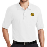 White Easycare Pique Polo-Golden Lion Head