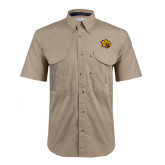 Khaki Short Sleeve Performance Fishing Shirt-Golden Lion Head