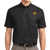 Black Twill Button Down Short Sleeve-Golden Lion Head
