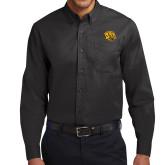 Black Twill Button Down Long Sleeve-Golden Lion Head
