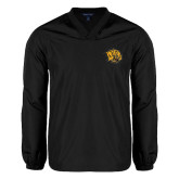 V Neck Black Raglan Windshirt-Golden Lion Head