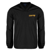 V Neck Black Raglan Windshirt-UAPB Word Mark