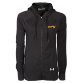 Ladies Under Armour Black Varsity Full Zip Hoodie-UAPB Word Mark