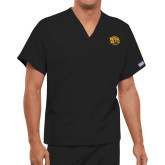 Unisex Black V Neck Tunic Scrub with Chest Pocket-Golden Lion Head