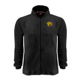 Fleece Full Zip Black Jacket-Golden Lion Head