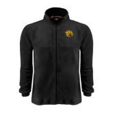 Fleece Full Zip Black Jacket-Golden Lion Head