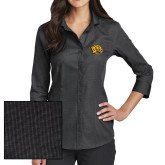 Ladies Red House Black 3/4 Sleeve Shirt-Golden Lion Head
