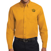 Gold Twill Button Down Long Sleeve-Golden Lion Head