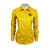 Ladies Gold Twill Button Down Long Sleeve-Golden Lion Head