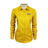 Ladies Gold Twill Button Down Long Sleeve-UAPB Golden Lions Stacked