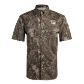 Camo Short Sleeve Performance Fishing Shirt-Golden Lion Head